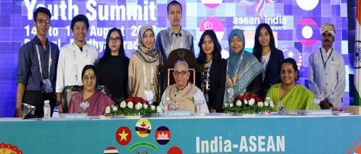 External Affairs Minister, Sushma Swaraj and Governor OP Kohli in a group photo of the delegates at India-ASEAN Youth Summit, 14th-19th August at Bhopal, Madhya Pradesh